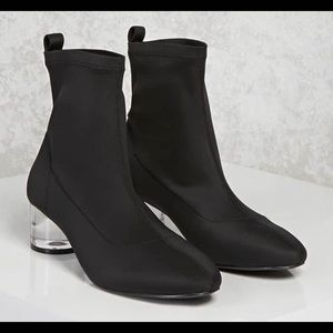 Forever 21 Women's Black Lucite Sock Ankle Boots